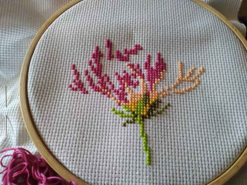 Blüten im Stickrahmen