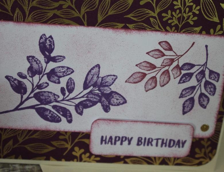 Geburtstagsgruß in lila-gold
