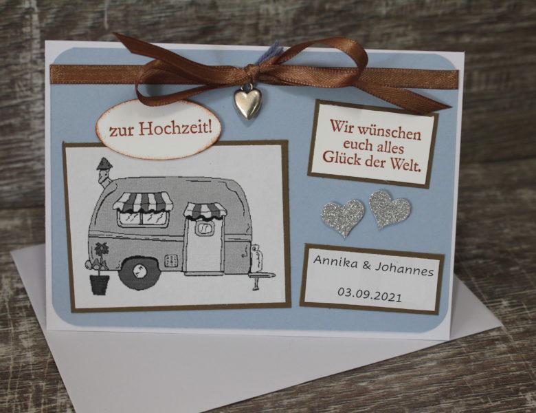 Hochzeitskarte mit Wohnwagen